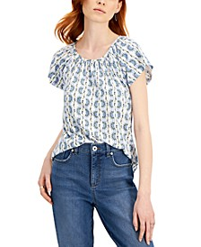 Petite Pleated Scoop Neck Top, Created for Macy's