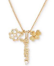 "Gold-Tone Cubic Zirconia Queen Bee Multi-Charm Pendant Necklace, 16"" + 3"" extender"