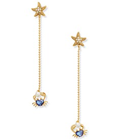 Gold-Tone Cubic Zirconia & Imitation Pearl Heart Crab & Starfish Linear Drop Earrings