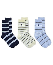 Big Boys Shirt Stripe Crew 3 Pack of Socks