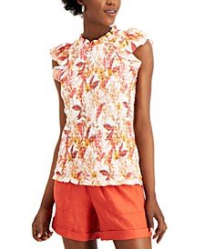 INC Plus Size Printed Smocked Sleeveless Top, Created for Macy's