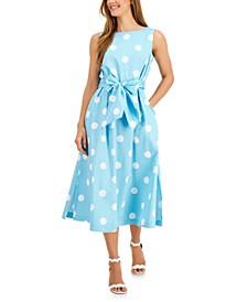 Dot-Printed Tie-Sash Midi Dress