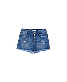 Big Girls Button Fly High Waist Denim Shorts