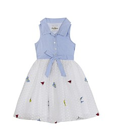 Big Girls Embroidered Mesh Dress