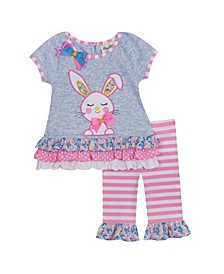 Little Girls 2 Piece Bunny Applique Legging Set
