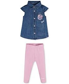Baby Girls 2-Pc. Lurex Denim Shirt and Legging Set