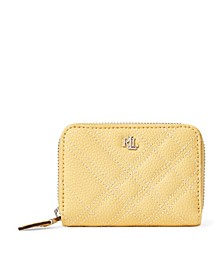 Plaid Quilted Small Leather Zip Wallet