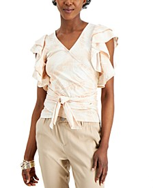 INC Wrap-Style Flutter-Sleeve Cotton Top, Created for Macy's