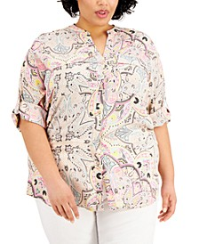 Plus Size Abstract-Print Roll-Tab Shirt