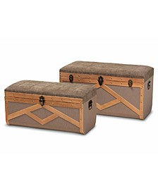 Kala Modern and Contemporary Transitional Fabric Upholstered 2 Piece Storage Ottoman Trunk Set