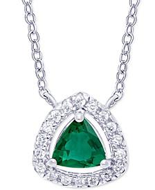 "Green Quartz (3/8 ct. t.w.) & Cubic Zirconia Trillion 18"" Pendant Necklace in Sterling Silver"