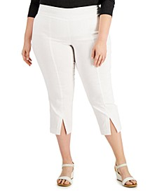 Plus Size Solid Split-Hem Pull-On Capri Pants, Created for Macy's