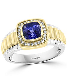 EFFY® Men's Tanzanite (1-5/8 ct. t.w.) & Diamond (1/5 ct. t.w.) Ring in 14k Gold & 14k White Gold