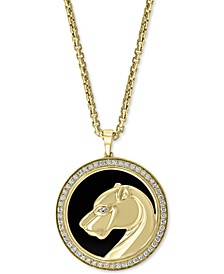 """EFFY® Men's Onyx & Diamond (3/8 ct. t.w.) Panther 22"""" Pendant Necklace in 14k Gold"""