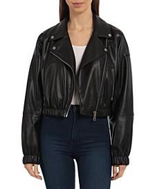 Cropped Vegan Leather Biker Jacket