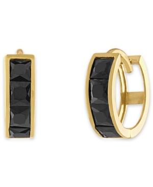Black Spinel Hoop Earrings in 14k Gold-Plated Sterling Silver