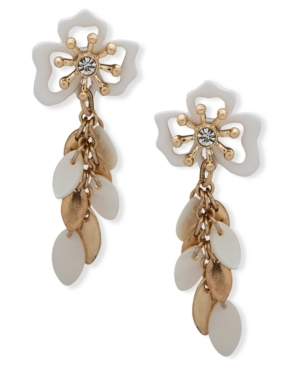 Gold-Tone Pave & Shell Flower Linear Drop Earrings
