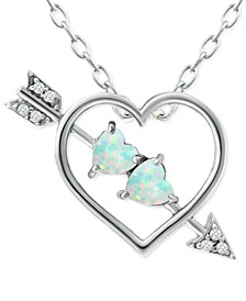 """Lab-Created Opal (1/3 ct. t.w.) & Cubic Zirconia Heart & Arrow 18"""" Pendant Necklace in Sterling Silver, Created for Macy's"""
