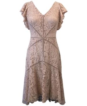 1920s Fashion & Clothing | Roaring 20s Attire Taylor V-Neck Flutter-Sleeve Asymmetrical Lace Dress $139.00 AT vintagedancer.com