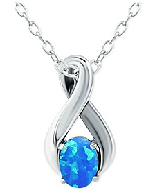"""Lab-Created Blue Opal 18"""" Pendant Necklace (1/2 ct. t.w.) in Sterling Silver, Created for Macy's"""