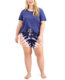 Plus Size Sleep T-Shirt & Tie-Dyed Sleep Shorts, Created for Macy's
