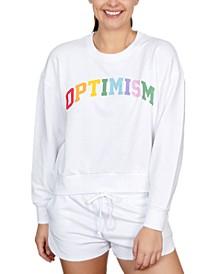 Juniors' Optimism Graphic-Print Sweatshirt