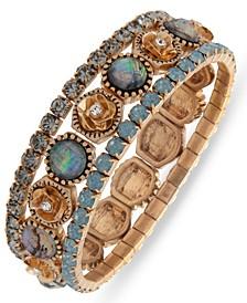 Gold Tone Crystal & Stone Flower Stretch Bracelet