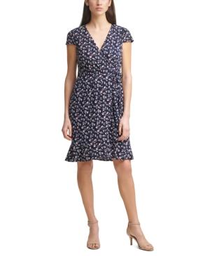 Jessica Howard FLORAL-PRINT FAUX-WRAP V-NECK DRESS