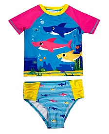 Baby Shark Toddler Girls Rashguard 2 Piece Swim Set