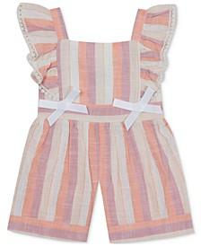 Baby Girls Striped Flutter-Sleeve Romper