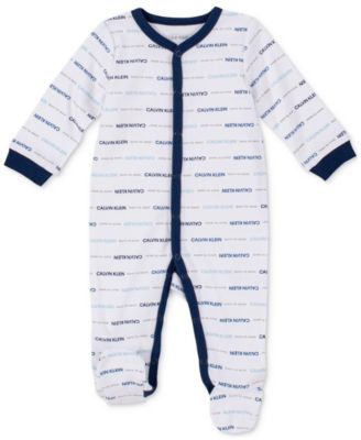 Baby Boys Logo-Print Footed Coverall
