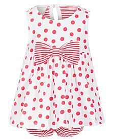 Baby Girls Bow & Dot Cotton Sunsuit, Created for Macy's