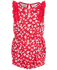 Baby Girls Floral Ruffle Cotton Sunsuit, Created for Macy's