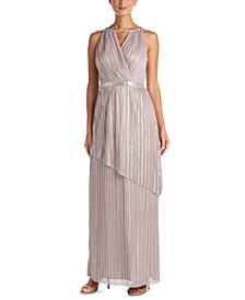 Metallic Asymmetrical-Detail Gown