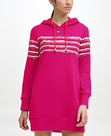 Women's Hooded Dress with Printed Stripe