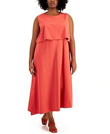 Plus Size Layered Asymmetrical-Hem Dress, Created for Macy's