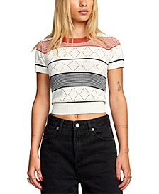 Striped Jasper Pointelle-Knit Cropped Top