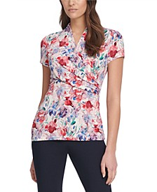 Ruched Floral-Print Top