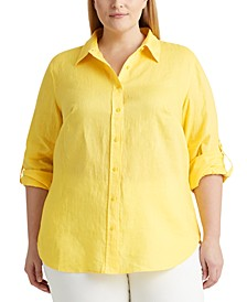 Plus Size Roll-Tab Sleeve Top