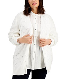 Plus Size Pointelle Open-Front Cardigan