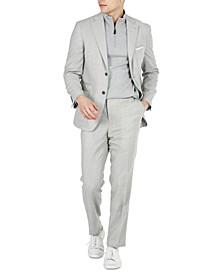 Men's Slim-Fit Stretch Light Gray Tic Suit Separates