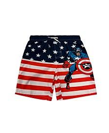 Little Boys Captain America Swim Trunk