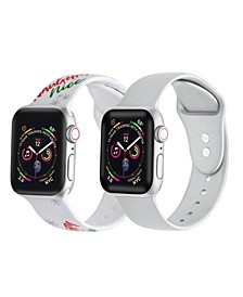 Men's and Women's Naughty or Nice Silver-Tone Metallic 2 Piece Silicone Band for Apple Watch 38mm