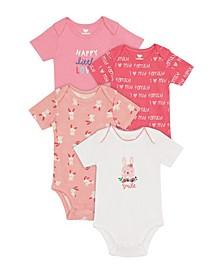 Baby Girls Bunny Bodysuit, 4 Piece Set