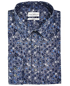 Men's Slim-Fit Moisture-Wicking Floral-Print Dress Shirt