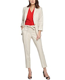 Striped One-Button Blazer, Twisted Top & Essex Striped Ankle Pants
