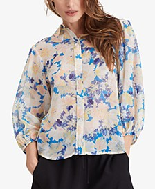 Hillside Printed Button Front Top