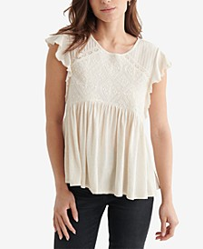 Flutter Sleeve Embroidered Top