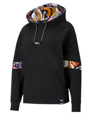 Puma Women's Printed Active Hooded Sweatshirt In  Black