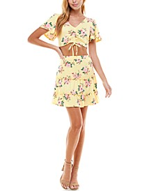 Juniors' Floral 2-Pc. Dress
